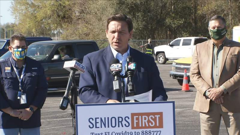 Gov. Ron DeSantis speaks in Lake City on Thursday, March 11.