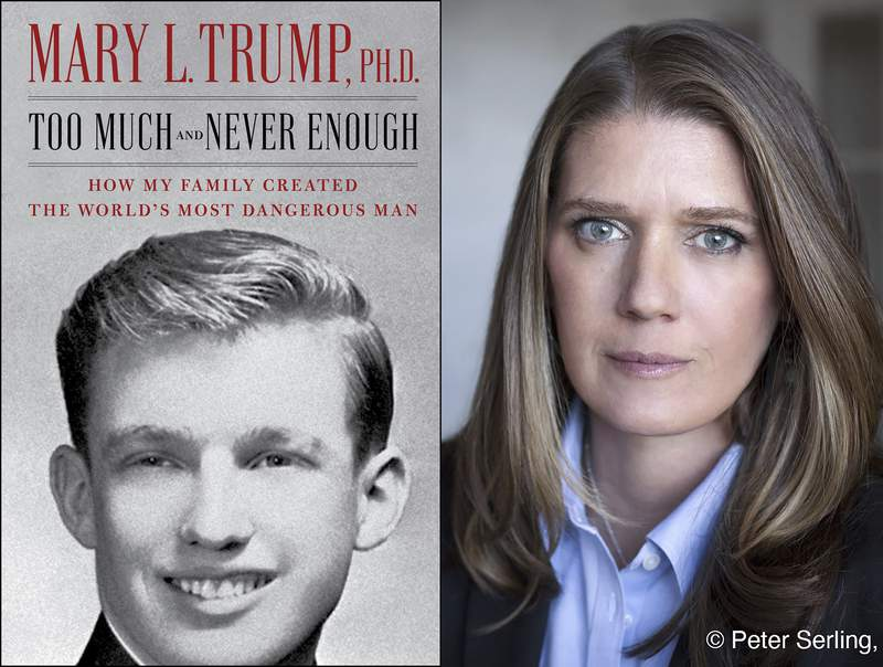 """This combination photo shows the cover art for """"Too Much and Never Enough: How My Family Created the Worlds Most Dangerous Man"""", left, and a portrait of author Mary L. Trump, Ph.D. The book, written by the niece of President Donald J. Trump, was originally set for release on July 28, but will now arrive on July 14. (Simon & Schuster, left, and Peter Serling/Simon & Schuster via AP)"""