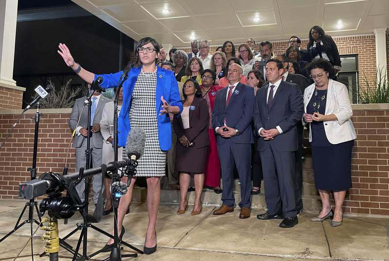 Texas state Rep. Jessica Gonzales speaks during a news conference in Austin, Texas, on early Monday, May 31, 2021, after House Democrats pulled off a dramatic, last-ditch walkout and blocked one of the most restrictive voting bills in the U.S. from passing before a midnight deadline. (AP Photo/Acacia Coronado)