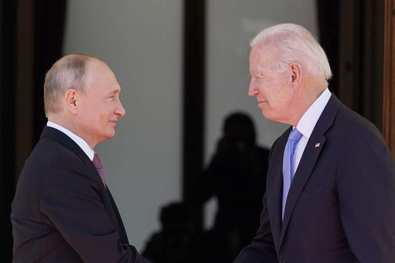 FILE - In this June 16, 2021 file photo, President Joe Biden and Russian President Vladimir Putin, arrive to meet at the 'Villa la Grange',  in Geneva, Switzerland. In their search for a new approach to arms control, Moscow and Washington are likely to soon encounter an old bugaboo: Russia's demand that the U.S. stop resisting limits on its missile defenses, which the Russians view as a long-term threat and the Americans see as a deterrent to war. It is likely to arise when U.S. and Russian officials open a strategic stability dialogue Wednesday in Geneva  talks meant to lay the groundwork for future arms control and to reduce the risk of nuclear war.  (AP Photo/Patrick Semansky)