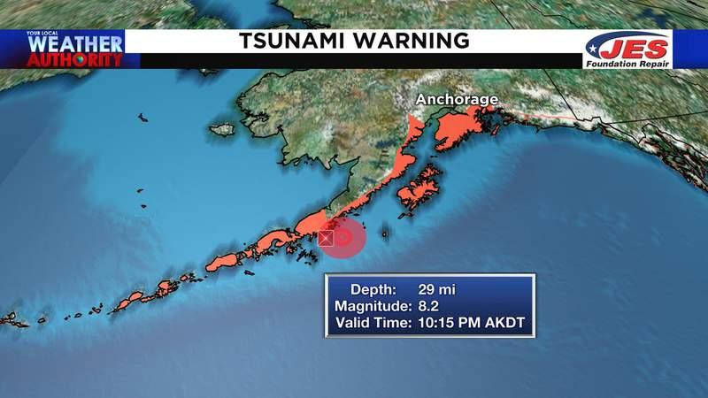 Tsunami warnings extend along Alaska's southern coast