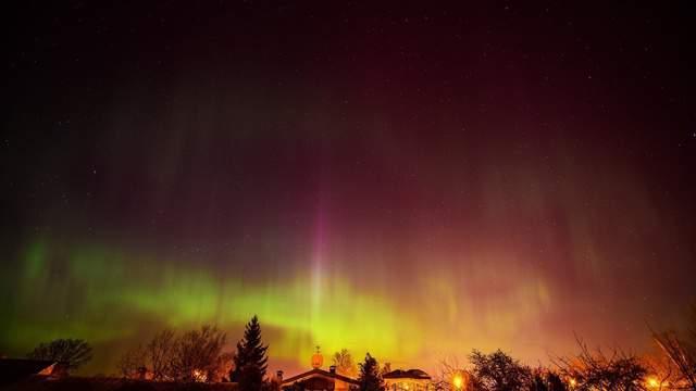 The aurora borealis over Latvia on the Baltic Sea.