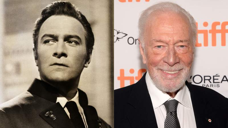 """LEFT: Christopher Plummer in The Sound of Music RIGHT: Christopher Plummer attends the """"Knives Out"""" premiere during the 2019 Toronto International Film Festival at Princess of Wales Theatre on September 07, 2019 in Toronto, Canada. (Photo by GP Images/Getty Images,)"""