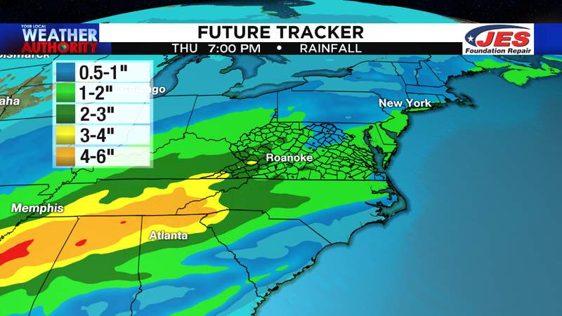 Estimated rainfall between Monday and Thursday