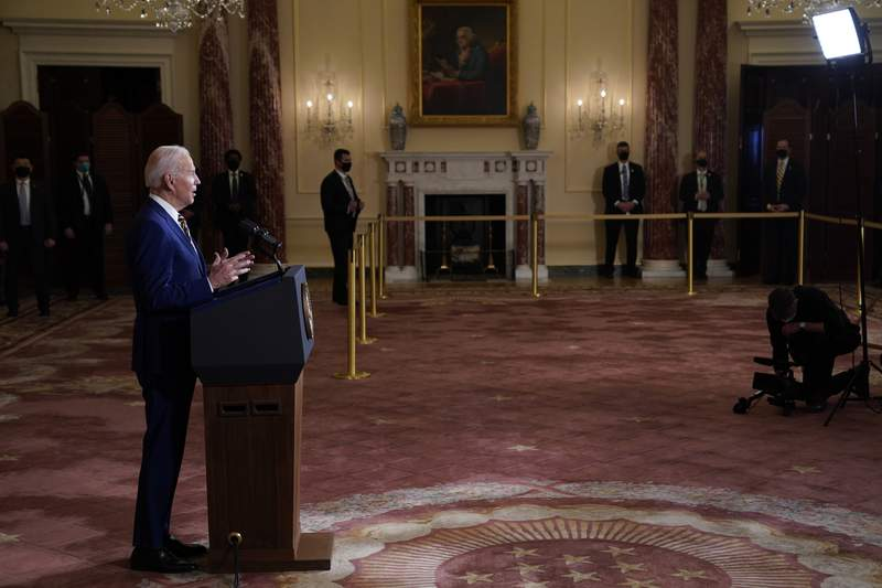President Joe Biden speaks about foreign policy, at the State Department, Thursday, Feb. 4, 2021, in Washington. (AP Photo/Evan Vucci)