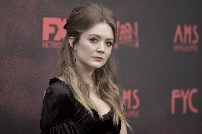 "FILE - In this Saturday, May 18, 2019 file photo, Billie Lourd attends ""American Horror Story: Apocalypse"" FYC event at NeueHouse Hollywood in Los Angeles. Actress Billie Lourd has announced the birth of her son. Lourd announced on her social media Friday, Sept. 25, 2020 that she and her fiance, Austen Rydell, welcomed their newborn son into the world (Photo by Richard Shotwell/Invision/AP, File)"