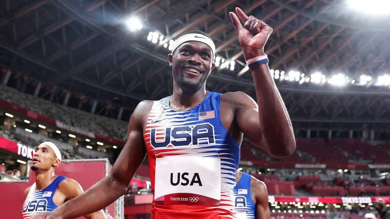 U.S. runner Rai Benjamin celebrates his team's victory in the men's 4x400 relay at the 2020 Tokyo Olympic Games.