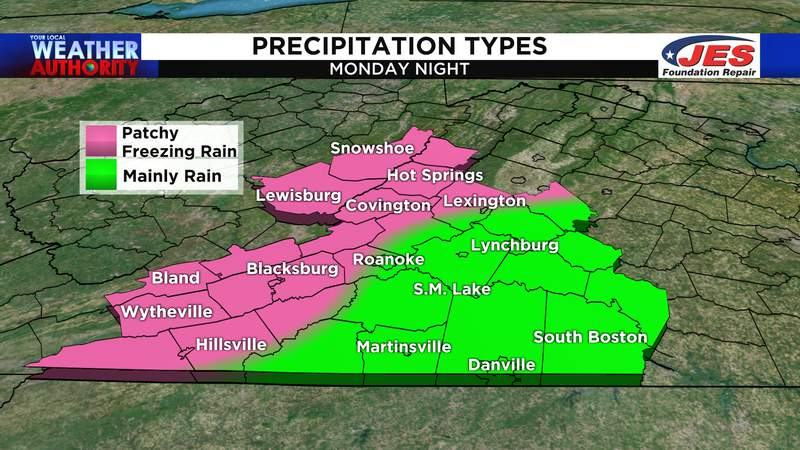 Possible types of precipitation for Monday night, 3/15/2021