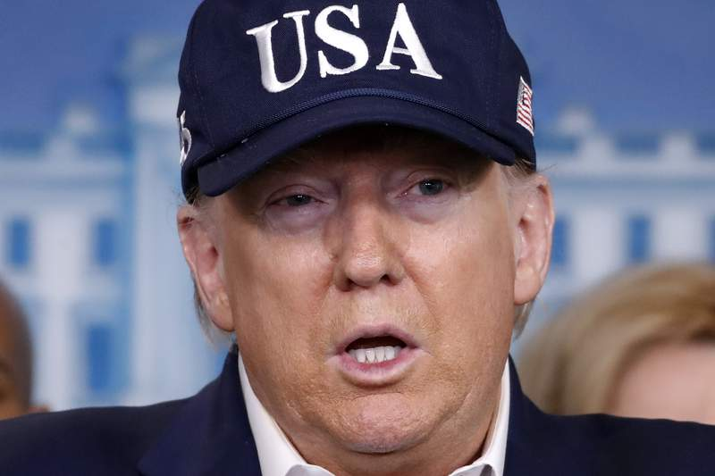 President Donald Trump speaks during a briefing on coronavirus in the Brady press briefing room at the White House, Saturday, March 14, 2020, in Washington. (AP Photo/Alex Brandon)