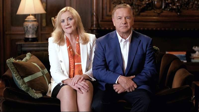 In this image from video, Mark and Patricia McCloskey speak from St. Louis, during the first night of the Republican National Convention Monday, Aug. 24, 2020. (Courtesy of the Committee on Arrangements for the 2020 Republican National Committee via AP)