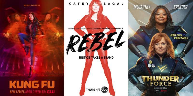 "This combination of photos shows promotional art for ""Kung Fu,"" a TV series premiering April 7 on The CW, left, ""Rebel,"" a TV series premiering April 8 on ABC, center, and the film ""Thunder Force,"" a comedy premiering April 9 on Netflix. (The CW/ABC/Netflix via AP)"