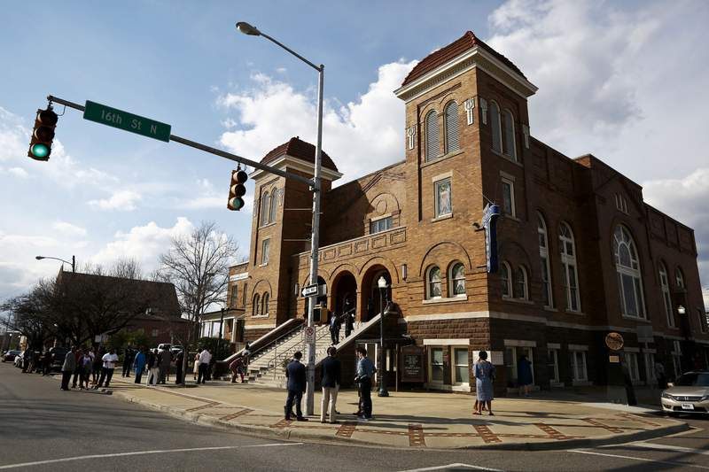 FILE - The 16th Street Baptist Church in Birmingham, Ala., is shown on Sunday, Jan. 15, 2017, in Birmingham, Ala. The African American Cultural Heritage Action Fund is awarding $3 million in preservation grants to an Alabama consortium that includes the church, plus dozens more sites across the nation. (AP Photo/Brynn Anderson, File)