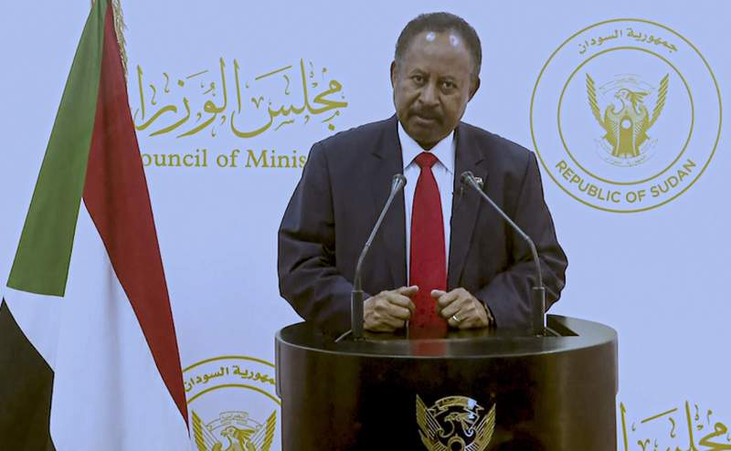 In this photo taken from video, Abdalla Adam Hamdok, Prime Minister of the Sudan, remotely addresses the 76th session of the United Nations General Assembly in a pre-recorded message, Saturday Sept. 25, 2021 at UN headquarters. (UN Web TV via AP)