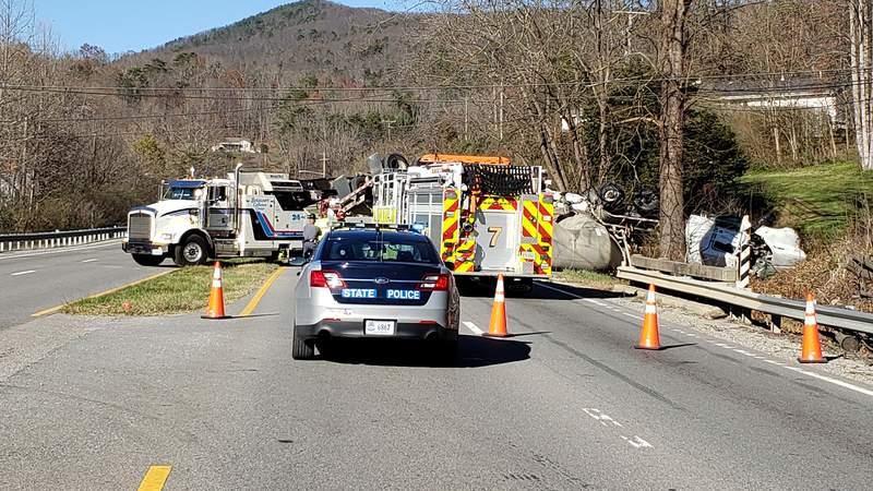 Tractor-trailer crash on U.S. 220 in southern Roanoke County on Nov. 18, 2020.
