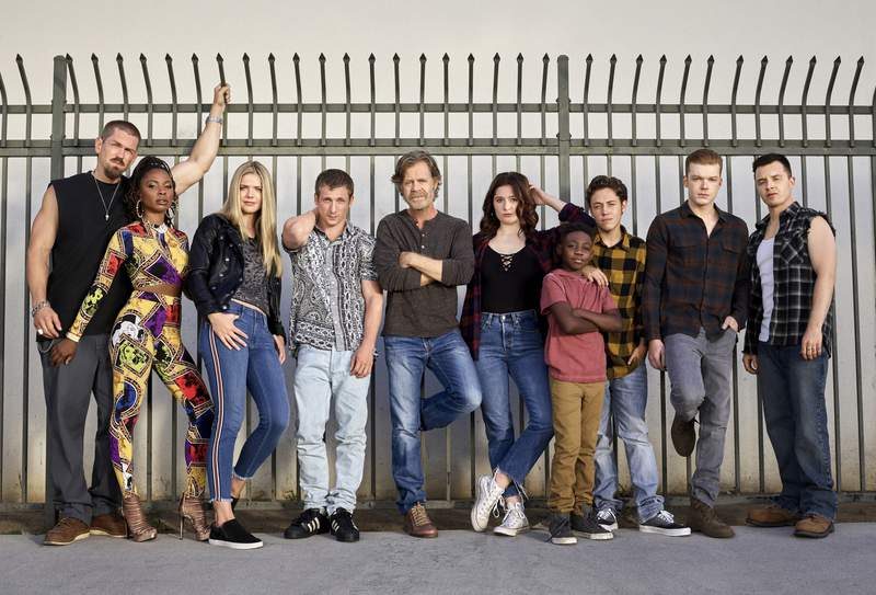 """This image released by Showtime shows cast members from the original series """"Shameless,"""" from left,  Steve Howey as Kevin Ball, Shanola Hampton as Veronica Fisher, Kate Miner as Tami Tamietti, Jeremy Allen White as Lip Gallagher, William H. Macy as Frank Gallagher, Emma Kenney as Debbie Gallagher, ChristianI Isaiah as Liam Gallagher, Ethan Cutkosky as Carl Gallagher, Cameron Monaghan as Ian Gallagher and Noel Fisher as Mickey Milkovich.  Showtime Entertainment President Gary Levine said Monday the series will air its 11th and final season this summer. (Brian Bowen Smith/Showtime via AP)"""