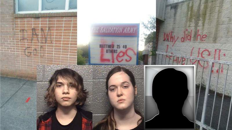 Three people, including teenager, facing charges for vandalizing Salvation Army