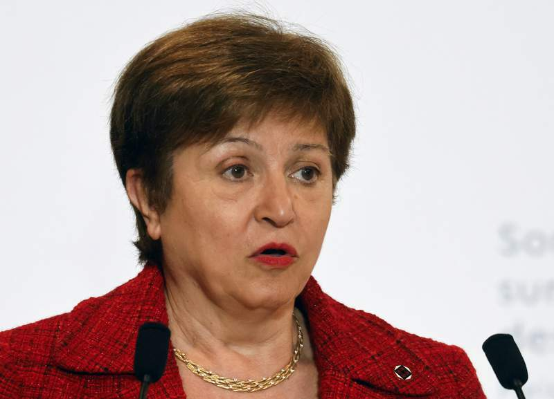 FILE - In this Tuesday, May 18, 2021, file photo, International Monetary Fund Managing Director Kristalina Georgieva speaks at the end of the Financing of African Economies Summit, in Paris. The IMF says it needs more time to weigh its response to the alleged role of the agency's managing director in data-rigging at the World Bank when she was a top official there. (Ludovic Marin/Pool Photo via AP, File)