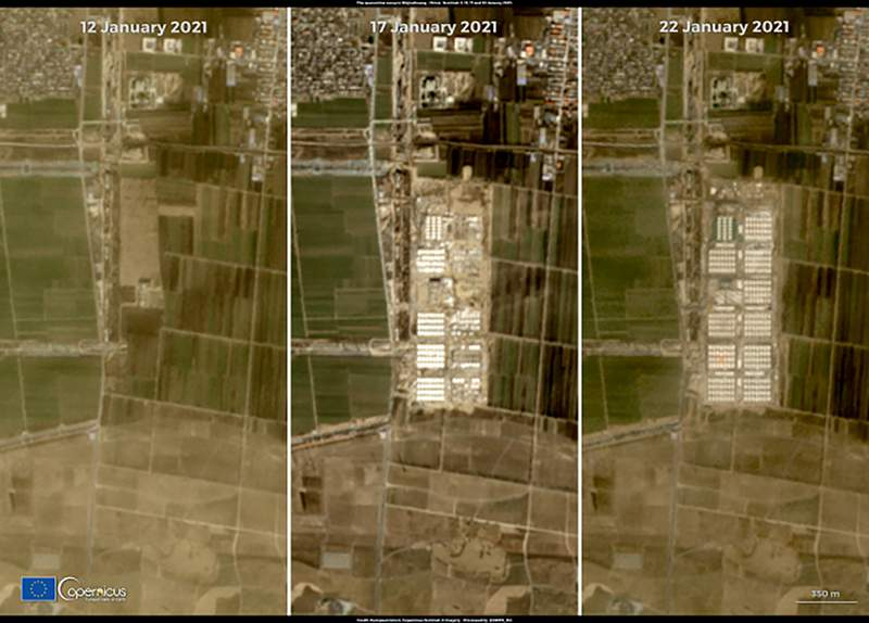 This combination of satellite images released by Copernicus, the European Union's Earth observation program, shows a massive quarantine camp built in Shijiazhuang in China's Hebei province. China is building a COVID quarantine center with more than 4,000 rooms in the northern city of Shijiazhuang, at a speed that's rarely seen in other countries. The satellite images show dramatic changes over 10 days in an area where there had been only flat land before construction started on Jan. 13, 2021. (European Union, Copernicus Sentinel-2 imagery via AP)