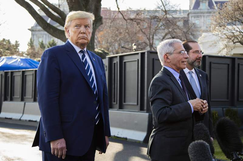 President Donald Trump with Director of the National Institute of Allergy and Infectious Diseases at the National Institutes of Health Anthony Fauci, center, and Department of Health and Human Services Secretary Alex Azar, speaks to reporters on the South Lawn, Tuesday, March 3, 2020, in Washington, as they arrive at the White House from a visit to the National Institutes of Health's Vaccine Research Center in Bethesda, Md. (AP Photo/Manuel Balce Ceneta)