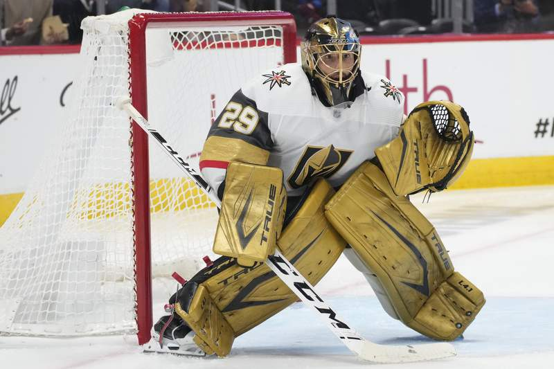 FILE - Vegas Golden Knights goaltender Marc-Andre Fleury (29) plays in the second period of Game 5 of an NHL hockey Stanley Cup second-round playoff series against the Colorado Avalanche in Denver, in this Tuesday, June 8, 2021, file photo. Reigning Vezina Trophy-winning goaltender Marc Andre Fleury has been traded from Vegas to Chicago and is contemplating his future, according to his agent. Allan Walsh tweeted Tuesday, July 27, 2021, that Fleury had still not heard from the Golden Knights about the deal.AP Photo/David Zalubowski, File)