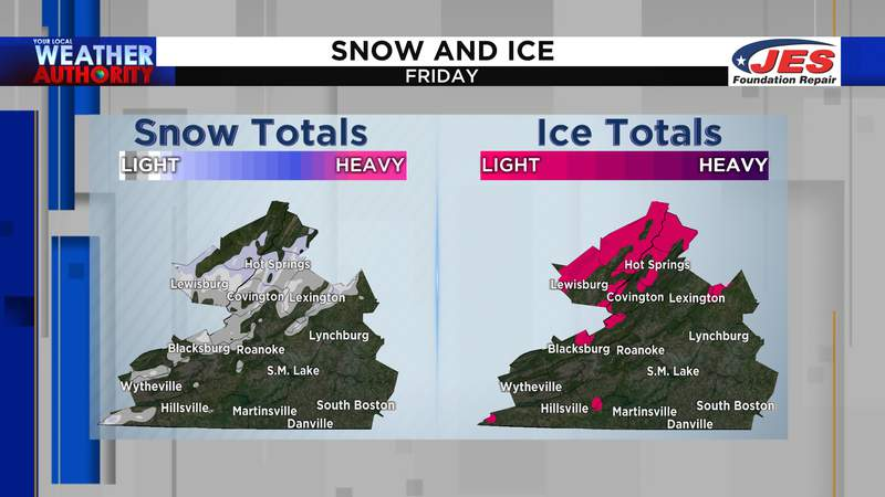 Snow and ice accumulation for Friday, 2/26/2021
