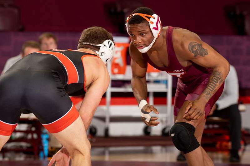 2019 NCAA Champion Mekhi Lewis returns to the mats for the season opener for Virginia Tech against Campbell.