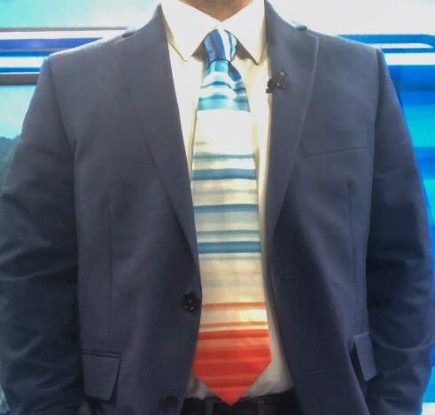 Chris Michaels' #ShowYourStripes climate warming tie