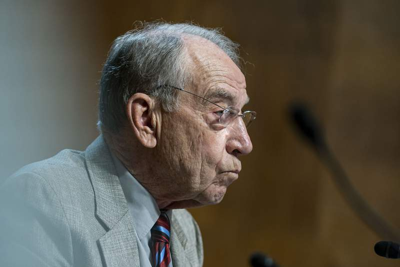 Sen. Chuck Grassley, R-Iowa, listens during a hearing of the Senate Judiciary Subcommittee on Privacy, Technology, and the Law, on Capitol Hill, Tuesday, April 27, 2021, in Washington. (Al Drago/Pool via AP)