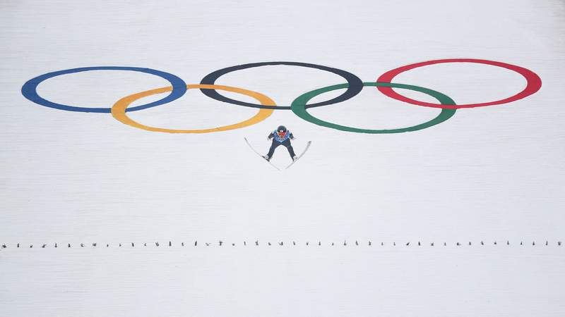 Feb 22, 2018; Pyeongchang, South Korea; Akito Watabe (JPN) jumps in the nordic combined mens team large hill and 4x5km ski jumping competition round during the Pyeongchang 2018 Olympic Winter Games at Alpensia Ski Jumping Centre.