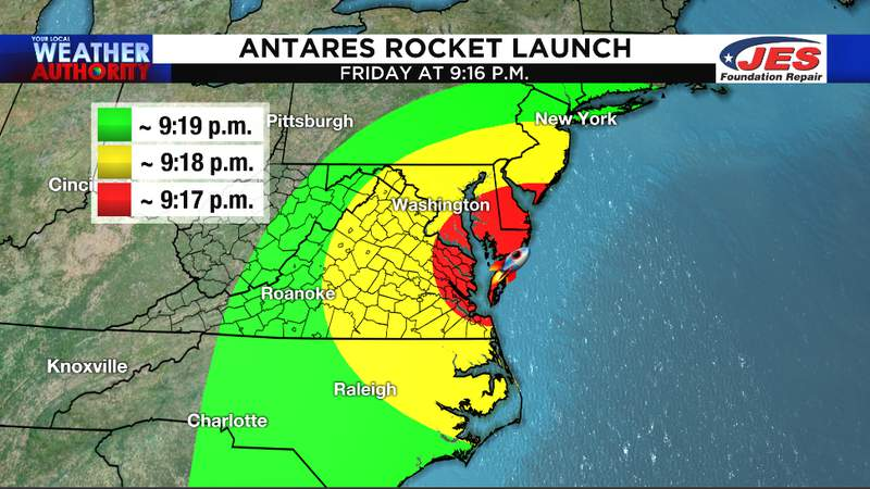 Friday night's Antares rocket launch at Wallops Island could be seen here