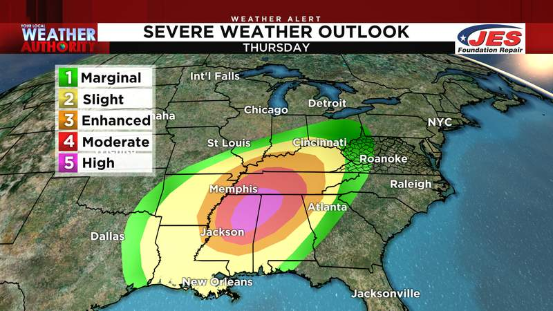 Severe weather outlook for Thursday, 3/25/2021