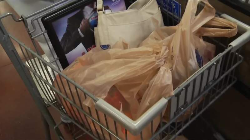 Plastic bags in shopping cart