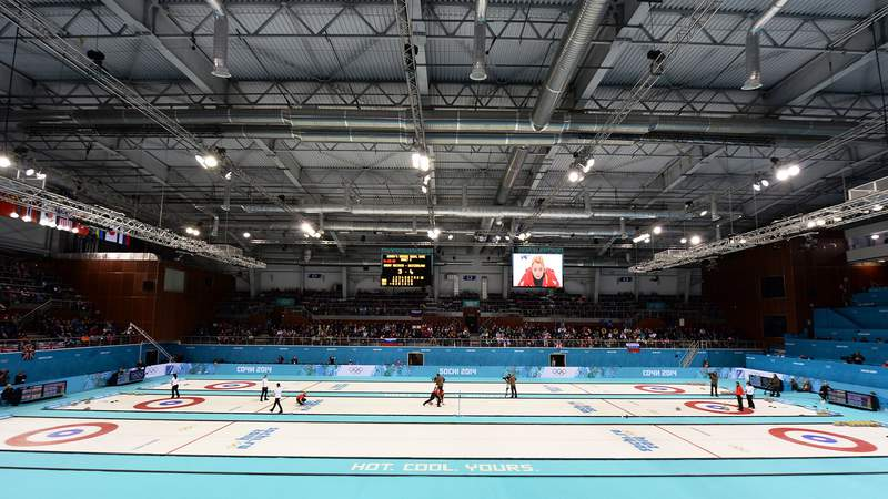 Feb 20, 2014; Sochi, RUSSIA; A general view during the Curling women's bronze medal game during the Sochi 2014 Olympic Winter Games at Ice Cube Curling Center.