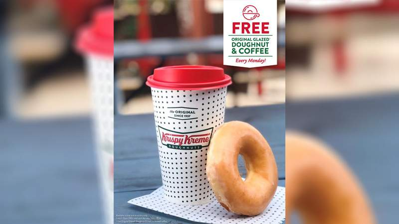 Get a free coffee and doughnut from Krispy Kreme every Monday until May 24