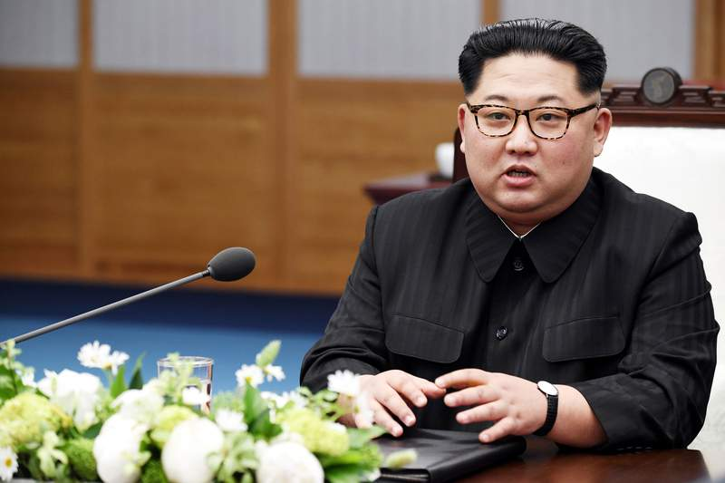 PANMUNJOM, SOUTH KOREA - APRIL 27:  North Koraen Leader Kim Jong Un speaks during the Inter-Korean Summit at the Peace House on April 27, 2018 in Panmunjom, South Korea. Kim and Moon meet at the border today for the third-ever inter-Korean summit talks after the 1945 division of the peninsula, and first since 2007 between then President Roh Moo-hyun of South Korea and Leader Kim Jong-il of North Korea. (Photo by Korea Summit Press Pool/Getty Images)