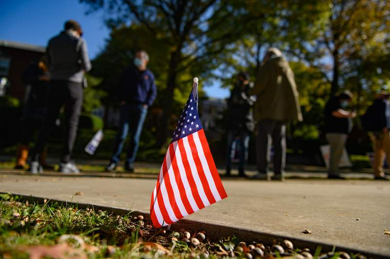 Voters wait to cast their ballots at Rodef Shalom Synagogue on Nov. 3 in Pittsburgh, Pennsylvania.