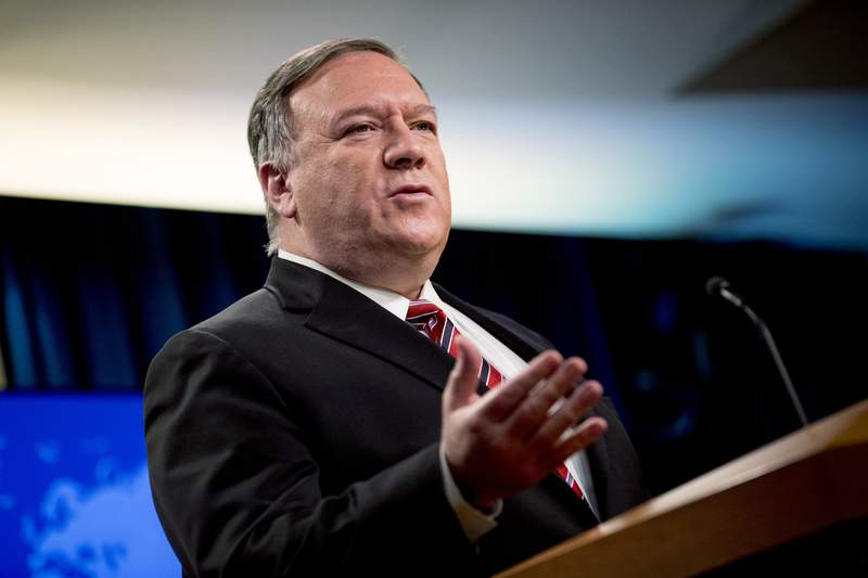 FILE - In this April 29, 2020, file photo Secretary of State Mike Pompeo speaks at a news conference at the State Department in Washington. Chinese leaders intentionally concealed the severity of the pandemic from the world in early January, according to a 4-page, Department of Homeland Security report dated May 1 and obtained by The Associated Press. The revelation comes as the Trump administration has intensified its criticism of China, with Pompeo saying Sunday, May 3, that China has been responsible for the spread of disease in the past and must be held accountable for the outbreak of the current pandemic. (AP Photo/Andrew Harnik, File)