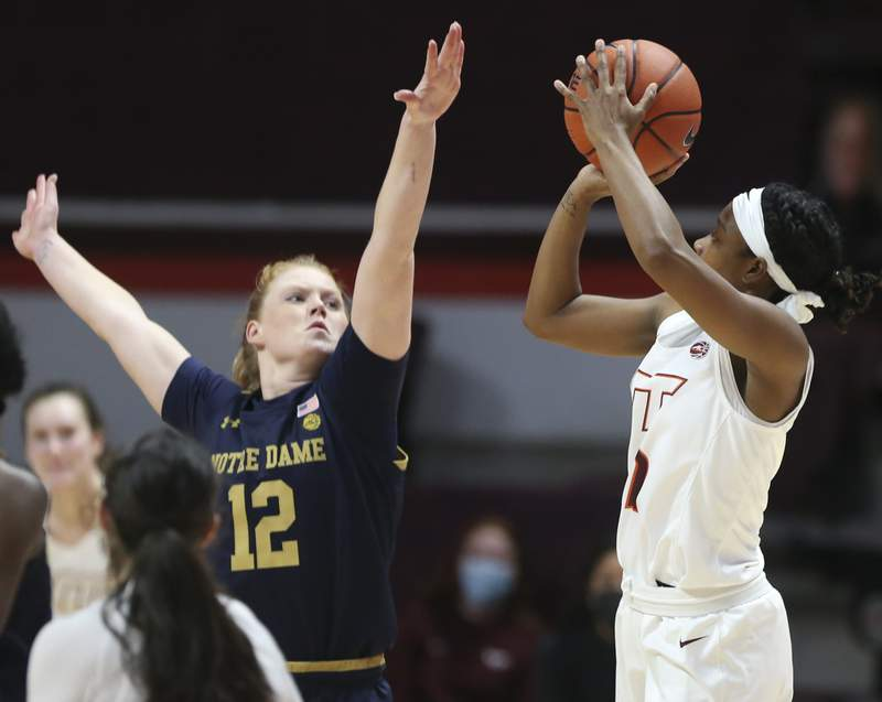 Virginia Tech's Aisha Sheppard (2) shoots over Notre Dame's Abby Prohaska (12) during the second half of an NCAA college basketball game in Blacksburg Va. Thursday January 21 2021. Notre Dame won the game 65-60.(AP Photo /  MATT GENRTY, The Roanoke Times, Pool)