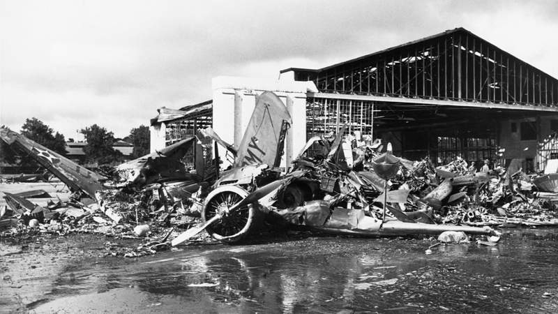 Scenes of wreckage after Japanese forces bombed Pearl Harbor on Dec. 7, 1941.