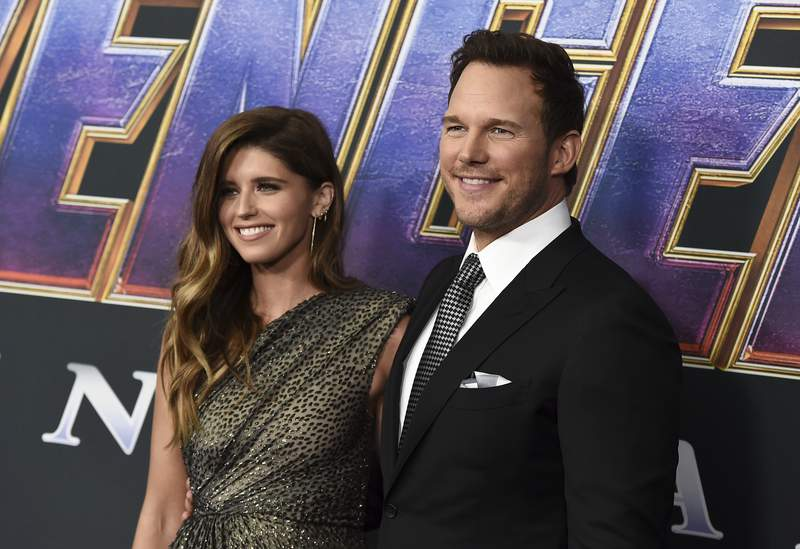 """FILE - Katherine Schwarzenegger, left, and Chris Pratt arrive at the premiere of """"Avengers: Endgame"""" in Los Angeles on April 22, 2019. Pratt and Schwarzenegger say they are beyond thrilled and extremely blessed after she gave birth to their first child together. The Avengers"""" actor and the children's book author announced the birth of daughter Lyla Maria Schwarzenegger Pratt in a joint post on their Instagram accounts Monday. (Photo by Jordan Strauss/Invision/AP, File)"""