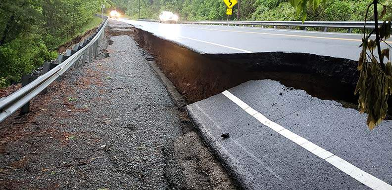 Route 116 collapse