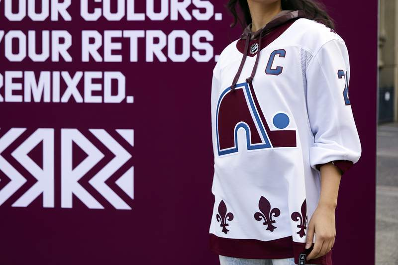 This undated photo provided by Adidas shows the Colorado Avalanches newest NHL hockey jersey featuring the logo and design of the Quebec Nordiques, which the team was known as until moving to Denver in 1995. The NHL and Adidas on Monday, Nov. 16, 2020, unveiled a Reverse Retro jersey for all 31 teams, a way to spark interest before the next season begins. (Courtesy of Adidas via AP)