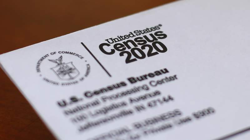 FILE - this April 5, 2020 file photo, shows An envelope containing a 2020 census letter mailed to a U.S. resident in Detroit. A federal judge on Thursday, May 21, 2020, agreed to impose financial sanctions against the Trump administration for failing to produce hundreds of documents during litigation over whether a citizenship question could be added to the 2020 census. (AP Photo/Paul Sancya, File)