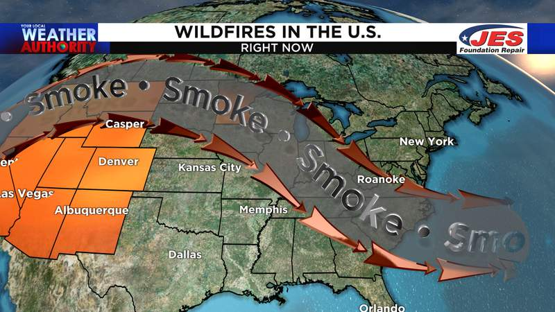 Wildfire smoke from out west to create more haze Friday