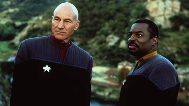 "Patrick Stewart and Levar Burton in the 1998 film, ""Star Trek: Insurrection"""