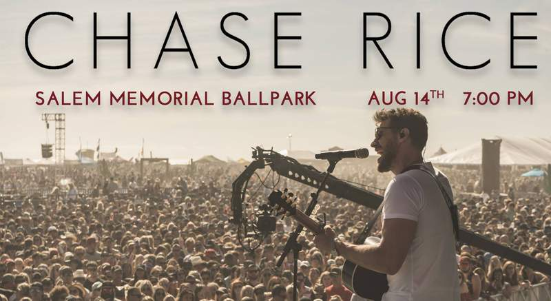 Chase Rice is set to perform at Salem Memorial Ballpark in August