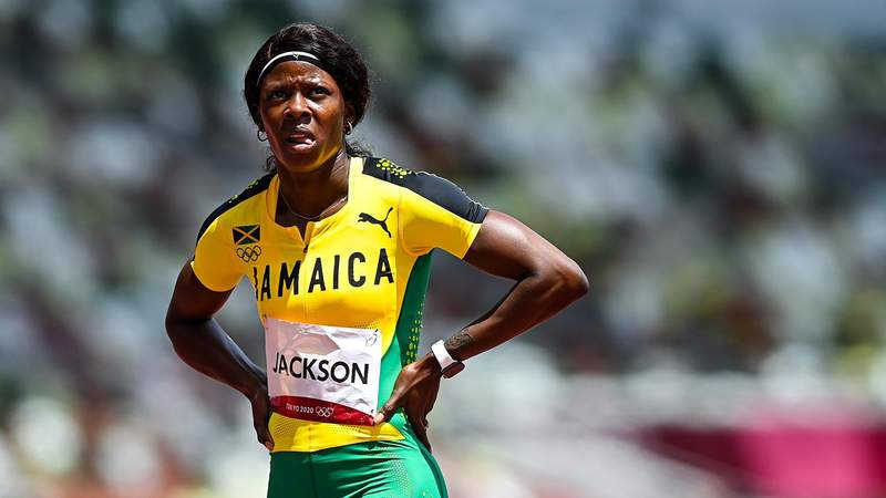 Tokyo , Japan - 2 August 2021; Shericka Jackson of Jamaica after finishing 4th place in her heat of the women's 200 metre at the Olympic Stadium on day ten of the 2020 Tokyo Summer Olympic Games in Tokyo, Japan. (Photo By Ramsey Cardy/Sportsfile via Getty Images)