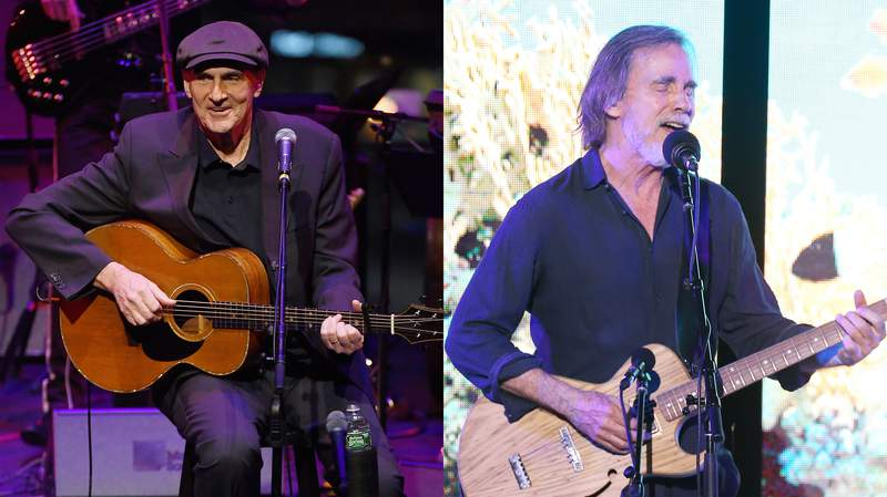 """LEFT:  James Taylor performs at """"The Nearness Of You Concert"""" in Honor of Michael Brecker at Jazz at Lincoln Center on January 28, 2019 in New York City. (Photo by Nicholas Hunt/Getty Images) RIGHT: Jackson Browne performs onstage at 2019 SeaChange Summer Party benefitting Oceana held on September 07, 2019 in Laguna Beach, California. (Photo by Michael Tran/Getty Images)"""