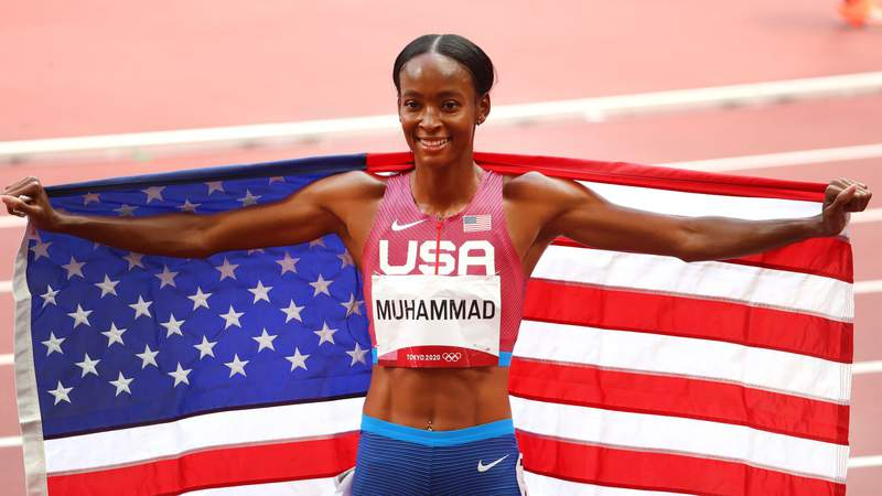 Dalilah Muhammad of Team United States celebrates after winning silver in the Women's 400m Hurdles Final on day twelve of the Tokyo 2020 Olympic Games