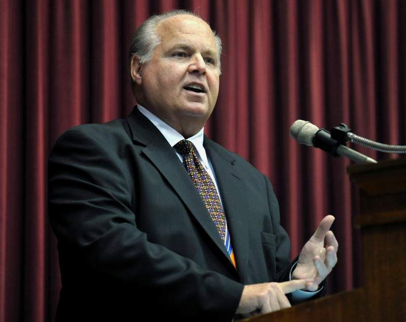 FILE - In this May 14, 2012 file photo, Rush Limbaugh speaks during a ceremony inducting him into the Hall of Famous Missourians in the state Capitol in Jefferson City, Mo. Florida Gov. Ron DeSantis is moving ahead with plans to honor the recently deceased conservative radio broadcaster by lowering flags to half-staff despite protests from some public officials who dont see Limbaugh as worthy of the honor. (AP Photo/Julie Smith, File)